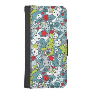 kawaii blue pattern iPhone SE/5/5s wallet case
