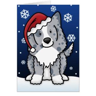 Kawaii Blue Sheltie Christmas Card