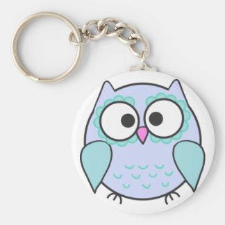 Kawaii Blue & Turquoise Illustrated Owl Keyring Basic Round Button Keychain