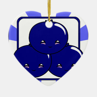 Kawaii Blueberry Basket (Boy) Ceramic Ornament