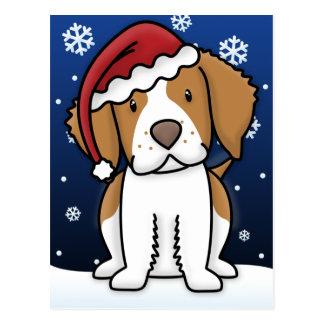 Kawaii Brittany Spaniel Christmas Postcard