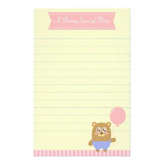 Kawaii brown bear holding a pink balloon custom stationery