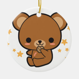 Kawaii Brown Bear Round Ceramic Ornament