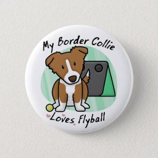 Kawaii Brown Border Collie Flyball Button