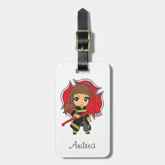 Kawaii Brunette Firefighter Girl - Bag Tag