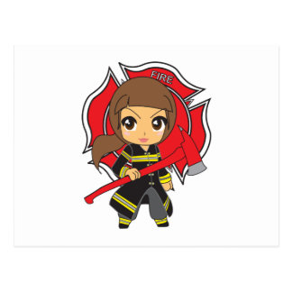 Kawaii Brunette Firefighter Girl Postcard