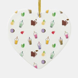 Kawaii Bubble Tea Ceramic Heart Ornament