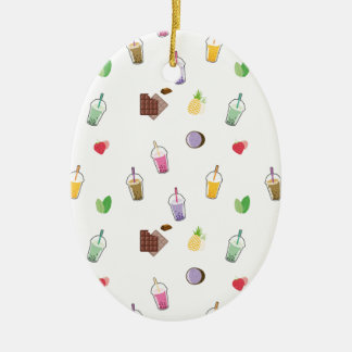 Kawaii Bubble Tea Ceramic Oval Ornament