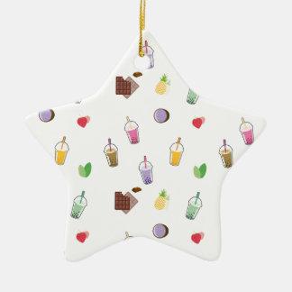 Kawaii Bubble Tea Ceramic Star Ornament