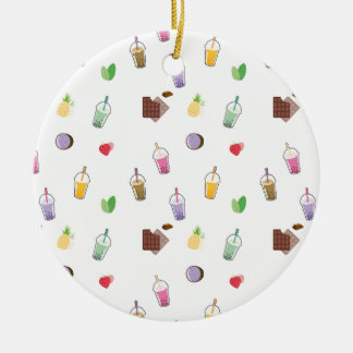 Kawaii Bubble Tea Round Ceramic Ornament