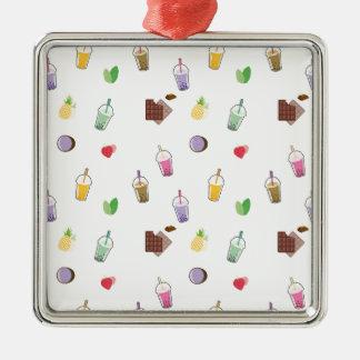 Kawaii Bubble Tea Silver-Colored Square Ornament