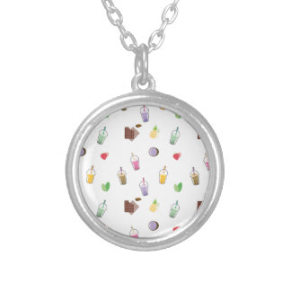Kawaii Bubble Tea Silver Plated Necklace