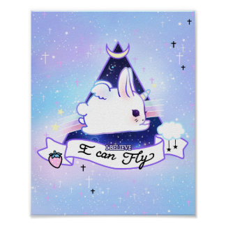Kawaii bunicorn - I believe I can fly Poster