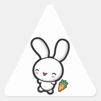 Kawaii Bunny and Carrot Triangle Sticker