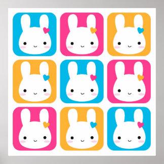 Kawaii Bunny Squares Poster