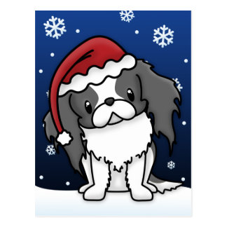 Kawaii BW Japanese Chin Christmas Postcard