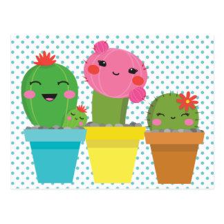 kawaii cactus postcard