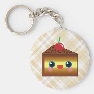Kawaii Cake Pie Chocolate Vanilla Cream Cherry Yum Basic Round Button Keychain