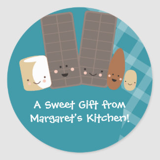 kawaii candy making marshmallows baking gift st... round sticker