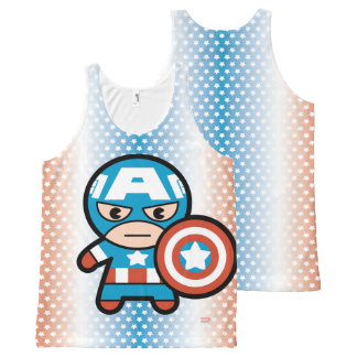 Kawaii Captain America With Shield All-Over-Print Tank Top