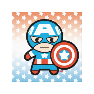 Kawaii Captain America With Shield Canvas Print