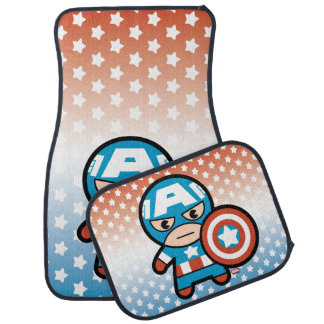 Kawaii Captain America With Shield Car Mat