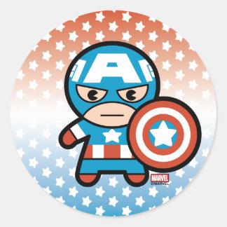 Kawaii Captain America With Shield Classic Round Sticker