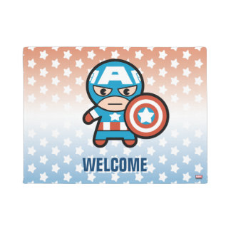 Kawaii Captain America With Shield Doormat