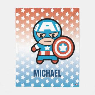 Kawaii Captain America With Shield Fleece Blanket