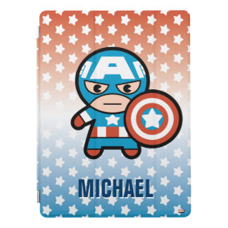Kawaii Captain America With Shield iPad Pro Cover