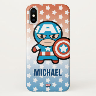 Kawaii Captain America With Shield iPhone X Case