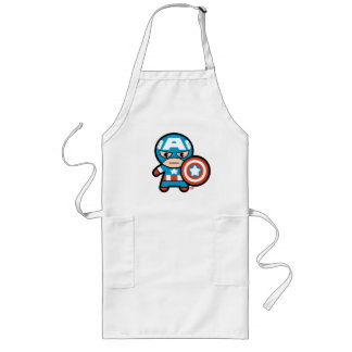 Kawaii Captain America With Shield Long Apron