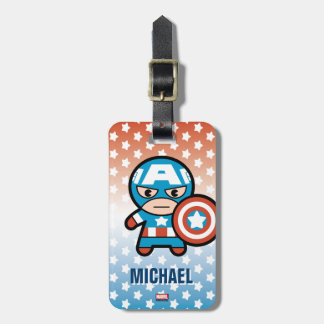 Kawaii Captain America With Shield Luggage Tag