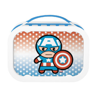 Kawaii Captain America With Shield Lunch Box