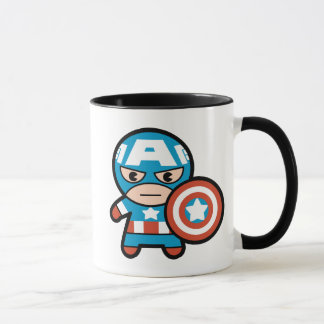 Kawaii Captain America With Shield Mug