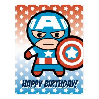 Kawaii Captain America With Shield Postcard