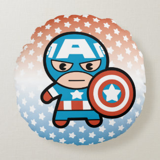 Kawaii Captain America With Shield Round Pillow