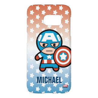 Kawaii Captain America With Shield Samsung Galaxy S7 Case