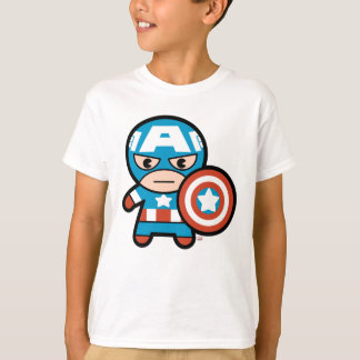 Kawaii Captain America With Shield T-Shirt