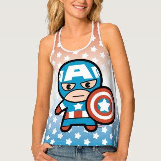 Kawaii Captain America With Shield Tank Top