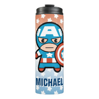 Kawaii Captain America With Shield Thermal Tumbler