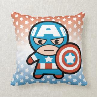 Kawaii Captain America With Shield Throw Pillow