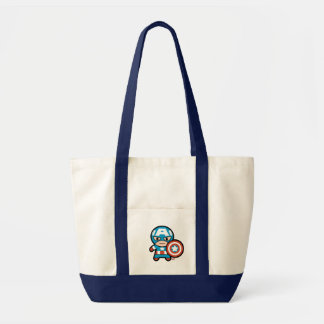 Kawaii Captain America With Shield Tote Bag