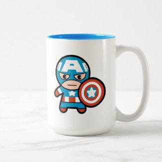 Kawaii Captain America With Shield Two-Tone Coffee Mug
