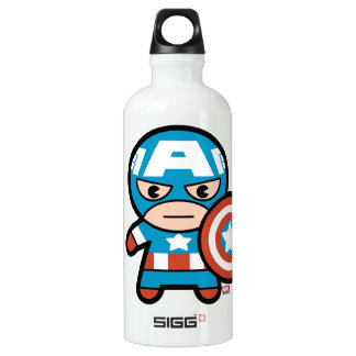 Kawaii Captain America With Shield Water Bottle