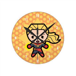 Kawaii Captain Marvel Photon Engery Round Clock