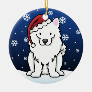 Kawaii Cartoon American Eskimo Dog Christmas Ceramic Ornament