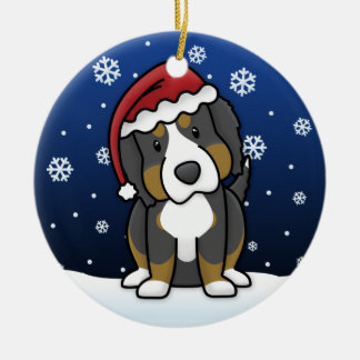 Kawaii Cartoon Bernese Mountain Dog Christmas Ceramic Ornament
