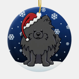 Kawaii Cartoon Black Pomeranian Ceramic Ornament