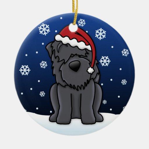 Kawaii Cartoon Black Russian Terrier Christmas Ornament
